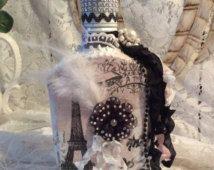 Altered bottle, shabby chic, black & white,Paris, French