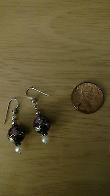 Vintage Chinese Enamel Cloisonne Pearl Sterling Silver Earrings Gold Tone Accent