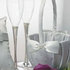 Le panier gris strass pour pétales de fleurs - Décorations de mariage