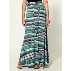Loveappella Tribal Print Flare Maxi Skirt, found on polyvore.com