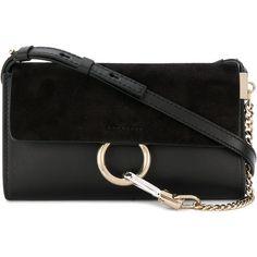 Chloé Faye Leathaer Mini Bag (2,635 PEN) ❤ liked on Polyvore featuring bags, handbags, shoulder bags, black, real leather purses, chloe shoulder bag, leather purses, shoulder strap bags and mini purse