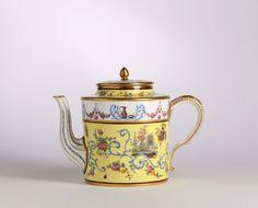 A Sèvres yellow-ground teapot and cover, <i>théière litron</i>,