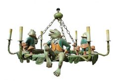 whimsical chandeliers | Whimsical chandelier with frogs atop lily pads