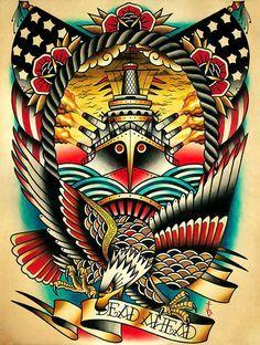 Dead Ahead by Tyler Bredeweg Warship Tattoo Navy Canvas Fine Art Print –…
