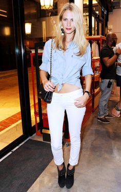 Chambray shirt + White SKinnies || The Ultimate Roundup Of Poppy Delevingne's Best Summer Looks via @WhoWhatWear