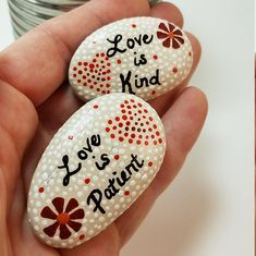 Hand painted stone stone refrigerator magnet love quote
