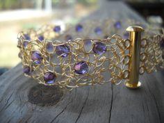 Purple and Gold wire crochet bracelet by MegsCrochetJewels on Etsy, $28.00