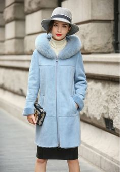 >> Click to Buy << 2017 New Womens Merino Sheep Leather Coat Double-faced Fur Light Blue Parka with Hoody Winter Long Real Leather Overcoat AU00926 #Affiliate