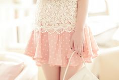 Lace and polka dots. Wheeee! So pretty.    Cute Asian Fashion - Lollimobile.com