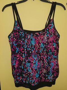 Catalina tankini top size 12/14 black pink | Clothing, Shoes & Accessories, Women's Clothing, Swimwear | eBay!