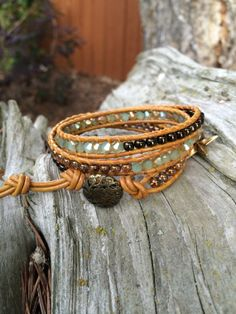 Beaded Leather Wrap Bracelet by SilveryBeachDesigns on Etsy, $42.00