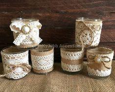 6 arpillera color natural rústico y encaje cubiertos por PinKyJubb