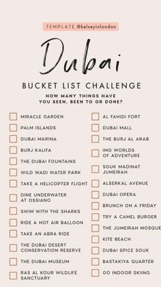 Travel Checklist, Travel List, Travel Goals, Beautiful Places To Travel, Cool Places To Visit, List Challenges, Dubai Travel, Future Travel, Travel Aesthetic