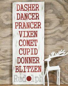 Homemade DIY Christmas Signs & Decor Ideas - Dasher, Dancer, Prancer! - Click Pic for 18 DIY Christmas Crafts for Family