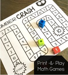 Tons of print and play math games for first grade! No prep, needed!