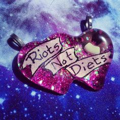 Riots Not Diets Necklace, Feminist, Riot Grrrl, Soft Grunge, Pastel Goth- i'm in love with this necklace!!!