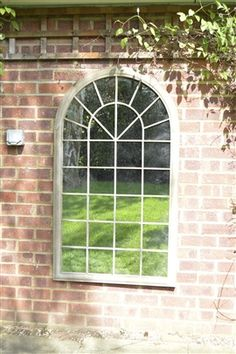 Large Rustic Arched Window Garden Mirror , 4ft3 x 2ft6 (130cm x 76cm)