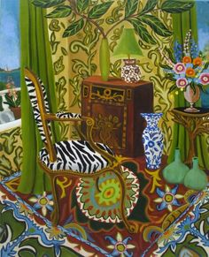 """Zebras and Vases"" by Catherine Nolin. Acrylics on canvas, 2011."