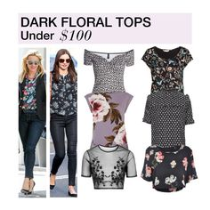 """""""Under $100: Dark Floral Tops"""" by polyvore-editorial ❤ liked on Polyvore featuring H&M, Oasis, Topshop, MINKPINK, Kerr®, women's clothing, women, female, woman and misses"""