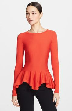 Love the colorand shape!  Alexander McQueen Diamond Knit Peplum Sweater available at #Nordstrom