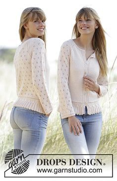 """Jolly May - Knitted DROPS jacket with a small cable edge, lace pattern and raglan in """"Baby Merino"""". Size: XS - XXXL. - Free pattern by DROPS Design"""