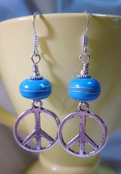 Turquoise Silver Wrapped Peace Signs by haikumaiden on Etsy, $16.00