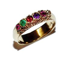 Fully Hallmarked 9ct Yellow Gold & Multi-Gem & Diamond Fancy Ring - UK Size N