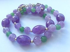 Lavender Amethyst and Aventurine Necklace