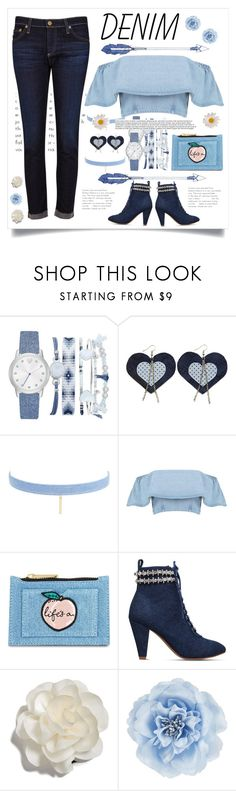 """From head to toe with denim 💙"" by jennifer-allison-bulnes-apolo ❤ liked on Polyvore featuring A.X.N.Y., Jules Smith, WALL, Skinnydip, KG Kurt Geiger, Cara, Monsoon and AG Adriano Goldschmied"
