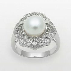 Irish Patterned Diamond and Pearl Ring