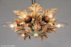 Italiaanse plafonniere 25959 bij Van der Lans Antiek. Meer antieke lampen op www.lansantiek.com