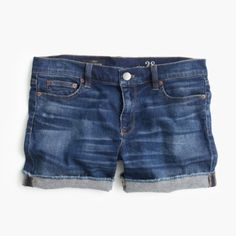 NWT J.Crew denim shorts Brand new, size 31. Very stretchy. Raw edge hems. Came cuffed up but can be worn either way. Dark wash denim. 98% cotton, 2% elastine. J. Crew Shorts Jean Shorts