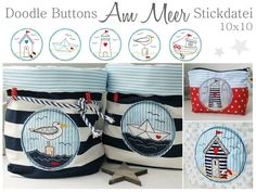 Doodle Buttons Am Meer Stickdatei Embroidery Files, Embroidery Patterns, Machine Embroidery, Doodle, Mobiles, Folding Boat, Chalkboard Vinyl, Etsy, Diy And Crafts