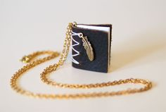 Written on the Wing.  Leather Mini Book Necklace