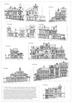 """Sketch designs for two groups of buildings in """"The Clove"""" town center, all original designs with various influences. Storefronts and Shops for The Clove Town Center Environment Concept Art, Environment Design, Bg Design, Building Drawing, Building Concept, Modelos 3d, House Drawing, Blender 3d, Architecture Drawings"""