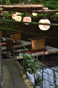 #Japan Kifune, Kyoto  Tables on a river.