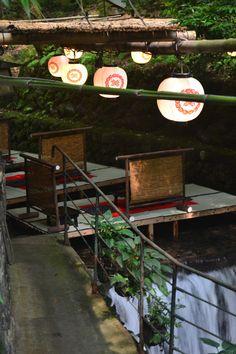 #Japan Kifune, Kyoto  Tables on a river.