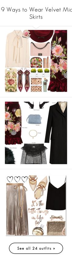 """19 Ways to Wear Velvet Midi Skirts"" by polyvore-editorial ❤ liked on Polyvore featuring waystowear, velvetmidiskirts, Alice Archer, Chloé, OTTE, Chanel, Paula Cademartori, Gucci, Charlotte Tilbury and Lemaire"
