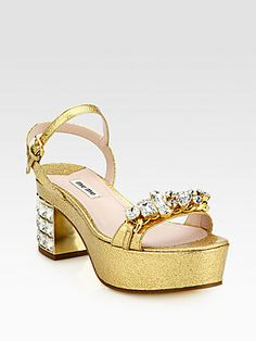 Miu Miu Jeweled Metallic Leather Platform Sandals