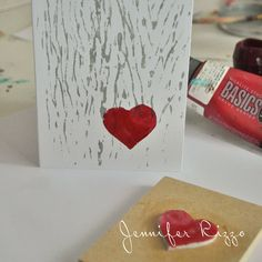 Making a heart stamp for valentine's day