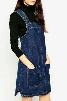 Shop ASOS Denim Pinafore Dress With Patch Pockets In Rich Blue at ASOS. Jumper Outfit, Denim Jumper Dress, Dungaree Dress, Jeans Dress, Denim Overalls, Dungarees, Shorts, Denim Pinafore, Pinafore Dress