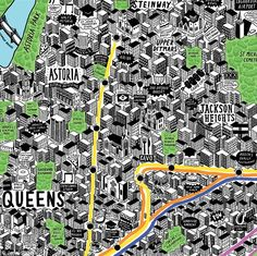Hand drawn map of NY  Insider's guide: Ms Sparks has not neglected Astoria, Queens and Jackson Heights, picking out locals' most loved eateries