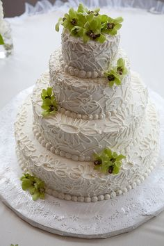 buttercream lace wedding cake, #wedding #cake
