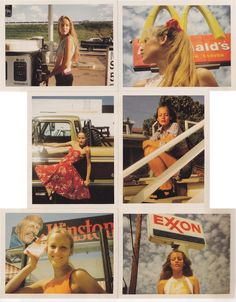 Jerry Hall + retro signage + warm colours
