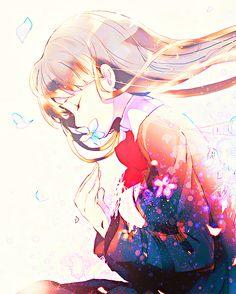 anime girl, art, cute, flowers, kawaii, manga, pretty