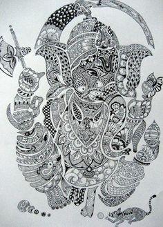 Om Gam Ganapataye Namaha, Ganesha Painting, Tangle Art, Lord Ganesha, Elephants, Tangled, Zentangle, Mythology, Worship