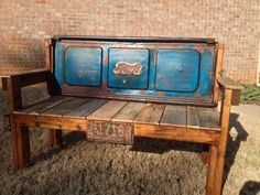 Vintage Blue Red Rust Ford Tailgate Bench, 1951, license plate, soda drink bottle opener, pallet wood, reclaimed, repurposed
