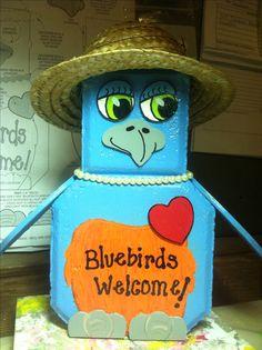 Bluebirds Painted Bricks Crafts, Brick Crafts, Painted Pavers, Brick Projects, Painted Rocks, Concrete Molds, Concrete Pavers, Painting Concrete, Concrete Art