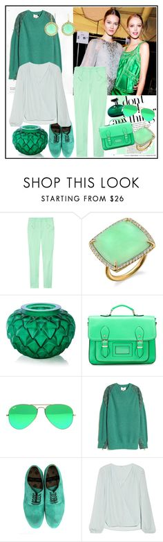 """""""Verde"""" by rhapsodys ❤ liked on Polyvore featuring Versace, Irene Neuwirth, Lalique, Ray-Ban, 3.1 Phillip Lim, Paul Smith, Chelsea Flower and Andrea Fohrman"""