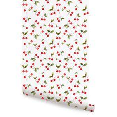 Cherries Bunch Peel & Stick Fabric Wallpaper Repositionable